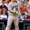 25 August 2008: Los Angeles Dodgers' Pitcher Chad Billingsley (58) checks his bat befroes stepping into the batters box in the game against the Philadelphia Phillies. The Phillies defeated the Dodgers 5-0 in Citizens Bank Stadium in Philadelphia, PA