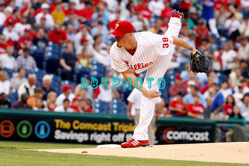25 August 2008: Philadelphia Phillies' pitcher Brett Myers (39) delivers a pitch to home plate against the Los Angeles Dodgers. The Phillies defeated the Dodgers 5-0 in Citizens Bank Stadium in Philadelphia, PA