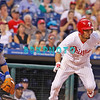 25 August 2008: Philadelphia Phillies' Centerfielder Shane Victorino (8) tries to beat out an infield hit as Dodgers catcher Russell Martin (55) watches the action in the game against the Los Angeles Dodgers. The Phillies defeated the Dodgers 5-0 in Citizens Bank Stadium in Philadelphia, PA