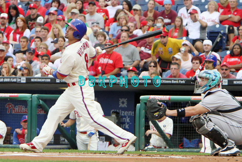 September 15,2011 - Philadelphia, Pennsylvania, U.S. - Philadelphia Phillie's SHANE VICTORINO, #8 outfielder of the Phillie's, in action during the game between the Phillie's and the Marlins at Citizens Bank Park, Philadelphia, PA. The Phillie's defeated the Marlins 3-1.