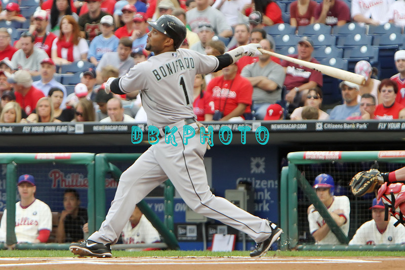 September 15,2011 - Philadelphia, Pennsylvania, U.S. - Florida Marlins outfielder EMILIO BONIFACIO #1,  in action during the game between the Phillie's and the Marlins at Citizens Bank Park, Philadelphia, PA. The Phillie's defeated the Marlins 3-1.