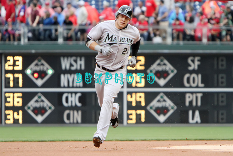 September 15,2011 - Philadelphia, Pennsylvania, U.S. - Florida Marlins outfielder LOGAN MORRISON #20 rounds the bases after hitting a home run during the game between the Phillie's and the Marlins at Citizens Bank Park, Philadelphia, PA. The Phillie's defeated the Marlins 3-1.
