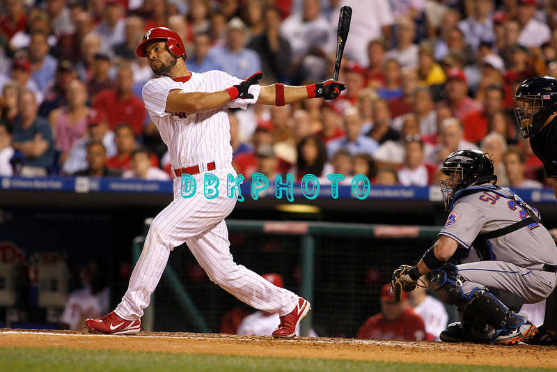 27 August 2008: Philadelphia Phillies' 3rd baseman Pedro Feliz (7) swings away in the game against the New York Mets. The Mets. The Mets went on to win defeating the Phillies' 6-3 in Citizens Bank Stadium in Philadelphia, PA