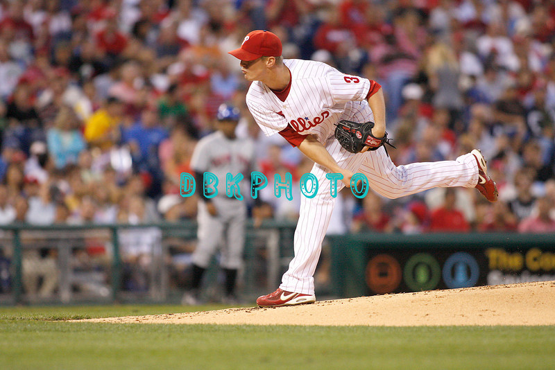 27 August 2008: Philadelphia Phillies' pitcher, Kyle Kendrick (38) fires a pitch to home in the game against the New York Mets. The Mets. The Mets went on to win defeating the Phillies' 6-3 in Citizens Bank Stadium in Philadelphia, PA