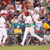 27 August 2008: Philadelphia Phillies' 1st baseman Ryan Howard (6) gets a congratulations from 3rd base coach Steve Smith (2) on his home run in the game against the New York Mets. The Mets. The Mets went on to win defeating the Phillies' 6-3 in Citizens Bank Stadium in Philadelphia, PA