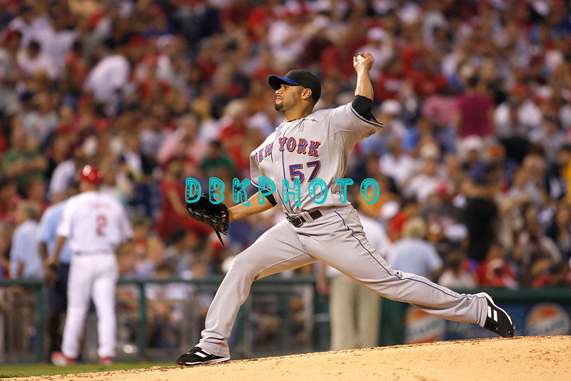 27 August 2008: New York Mets pitcher Johan Santana (57) throws a pitch iin the game against the Philadelphia Phillies'. The Mets. The Mets went on to win defeating the Phillies' 6-3 in Citizens Bank Stadium in Philadelphia, PA