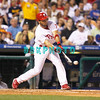 27 August 2008: Philadelphia Phillies' 3rd baseman Pedro Feliz (7) makes contact in the game against the New York Mets. The Mets. The Mets went on to win defeating the Phillies' 6-3 in Citizens Bank Stadium in Philadelphia, PA