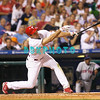 27 August 2008: Philadelphia Phillies' left fielder Pat Burrell punches a ball to right field in the game against the New York Mets. The Mets. The Mets went on to win defeating the Phillies' 6-3 in Citizens Bank Stadium in Philadelphia, PA