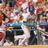 27 August 2008: New York Mets shortstop Jose Reyes (7) takes off for 1st base in the game against the Philadelphia Phillies'. The Mets. The Mets went on to win defeating the Phillies' 6-3 in Citizens Bank Stadium in Philadelphia, PA