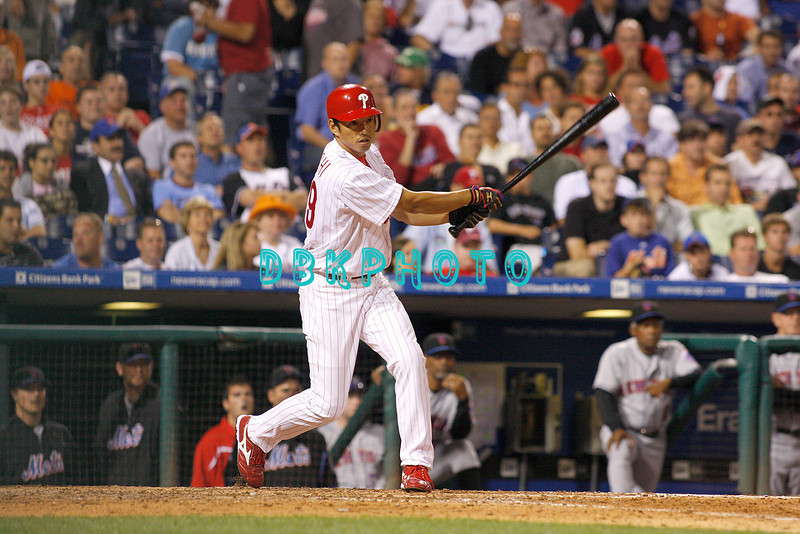 27 August 2008: Philadelphia Phillies' out fielder So Taguchi (99) pinch hits late in the game against the New York Mets. The Mets. The Mets went on to win defeating the Phillies' 6-3 in Citizens Bank Stadium in Philadelphia, PA