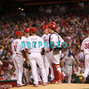27 August 2008: Philadelphia Phillies' pitcher Kyle Kendrick (38) leaves the game while shortstop Jimmy Rollins (11),3rd baseman Pedro Feliz (7), Catcher Chris Coste (27), 2nd baseman (26) and manager Charlie Manuel (41)  wait on the mound for the relief pitcher in the game against the New York Mets. The Mets. The Mets went on to win defeating the Phillies' 6-3 in Citizens Bank Stadium in Philadelphia, PA