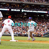 27 August 2008: New York Mets Jose Reyes (7) heads back to 1st base on a pick off attempt in the game against the Philadelphia Phillies'. The Mets. The Mets went on to win defeating the Phillies' 6-3 in Citizens Bank Stadium in Philadelphia, PA