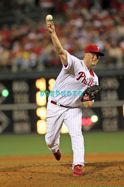 August 23, 2011  Phillies' Vance Worley. Pitcher, #49,releases a pitch to home plate during the game against the Philadelphia Phillies' at Citizens Bank Park in Philadelphia, PA. The Philadelphia Phillie's beat the New York Mets  9-4.