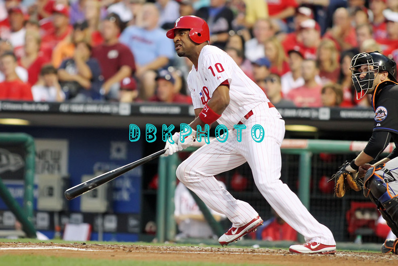 August 23, 2011  Phillies'#10 outfielder, Ben Francisco, hits a line drive to center field during the game against the Philadelphia Phillies' at Citizens Bank Park in Philadelphia, PA. The Philadelphia Phillie's beat the New York Mets  9-4.