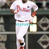 August 23, 2011  Phillies' outfielder, John Mayberry Jr, outfielder, #15 circles the bases after  hitting a home run in the 3rd inning during the game against the Philadelphia Phillies' at Citizens Bank Park in Philadelphia, PA. The Philadelphia Phillie's beat the New York Mets  9-4.