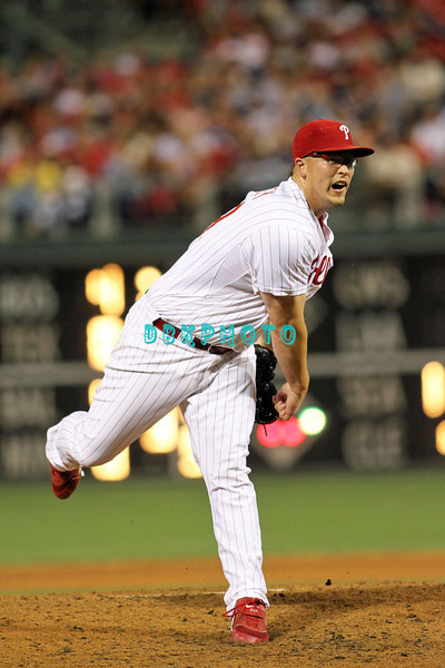 August 23, 2011  Phillies' Vance Worley. Pitcher, #49, fires a pitch to home plate during the game against the Philadelphia Phillies' at Citizens Bank Park in Philadelphia, PA. The Philadelphia Phillie's beat the New York Mets  9-4.