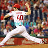 August 23, 2011  Phillies' Michael Stutes. Pitcher, #40, fires a pitch to home plate in relief of Vance Worley during the game against the Philadelphia Phillies' at Citizens Bank Park in Philadelphia, PA. The Philadelphia Phillie's beat the New York Mets  9-4.