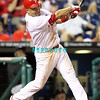 August 23, 2011  Phillies' #27 3rd baseman, Placido Polanco hits a long fly ball,  during the game against the Philadelphia Phillies' at Citizens Bank Park in Philadelphia, PA. The Philadelphia Phillie's beat the New York Mets  9-4.