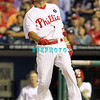 August 23, 2011  Phillies' outfielder, Shane Victorino, #8 reacts to hitting a foul ball off his foot during the game against the Philadelphia Phillies' at Citizens Bank Park in Philadelphia, PA. The Philadelphia Phillie's beat the New York Mets  9-4.