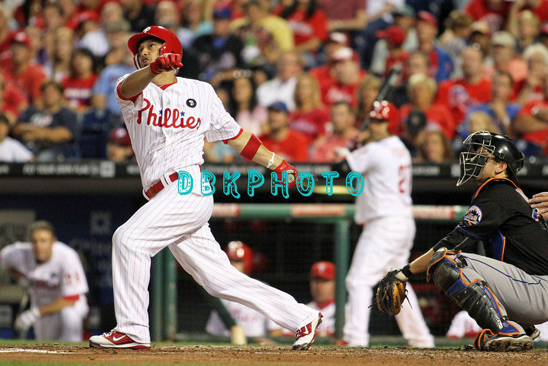 August 23, 2011  Phillies' outfielder, Shane Victorino, #8 hits a home run in the third inning during the game against the Philadelphia Phillies' at Citizens Bank Park in Philadelphia, PA. The Philadelphia Phillie's beat the New York Mets  9-4.