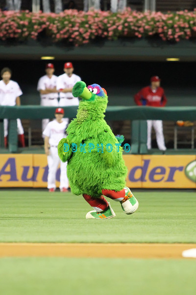 August 23, 2011  The Phillies mascot, The Phanatic streaks across the outfield  during the game against the Philadelphia Phillies' at Citizens Bank Park in Philadelphia, PA. The Philadelphia Phillie's beat the New York Mets  9-4.