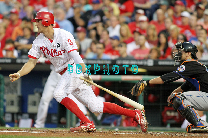 August 23, 2011  Phillies' outfielder, Hunter Pence, #3 lines a double to right  during the game against the Philadelphia Phillies' at Citizens Bank Park in Philadelphia, PA. The Philadelphia Phillie's beat the New York Mets  9-4.