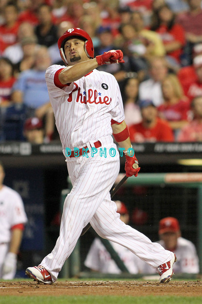 August 23, 2011  Phillies' outfielder, Shane Victorino, #8 hits a foul ball off his foot during the game against the Philadelphia Phillies' at Citizens Bank Park in Philadelphia, PA. The Philadelphia Phillie's beat the New York Mets  9-4.