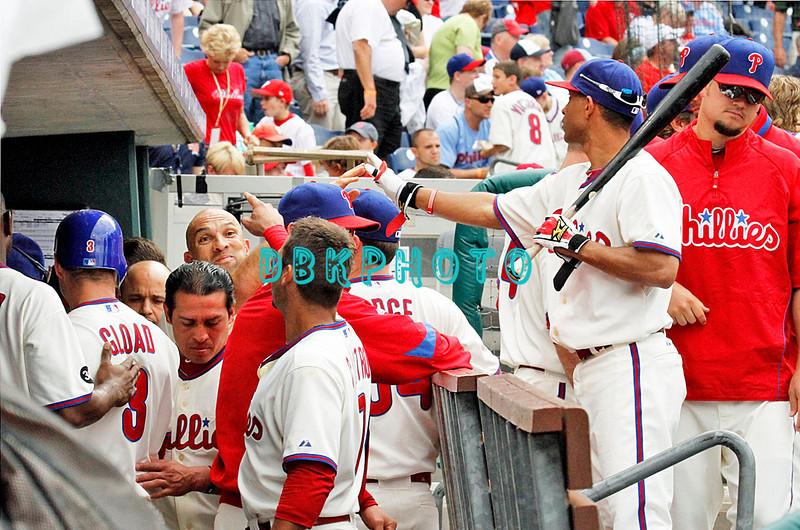 May 23, 2010  Philadelphia  Phillies'  dugout congratulates Ross Gload #3 after hitting a 3-run home run