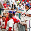 May 23, 2010  Philadelphia  Phillies'  dugout congratulates Ross Gload #3 after hitting a 3-run home run