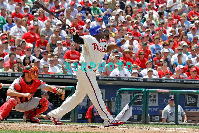 June 30, 2011  Philadelphia Phillie's #6 1st Baseman, Ryan Howard, hits a home run to right field during the game against the Philadelphia Phillies' at Citizens Bank Park in Philadelphia, PA. The Red Sox beat the Phillies' 5-2.