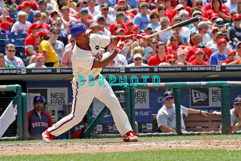 June 30, 2011  Philadelphia Phillie's #11 Shortstop, Jimmy Rollins, hits a long foul ball to left during the game against the Philadelphia Phillies' at Citizens Bank Park in Philadelphia, PA. The Red Sox beat the Phillies' 5-2.
