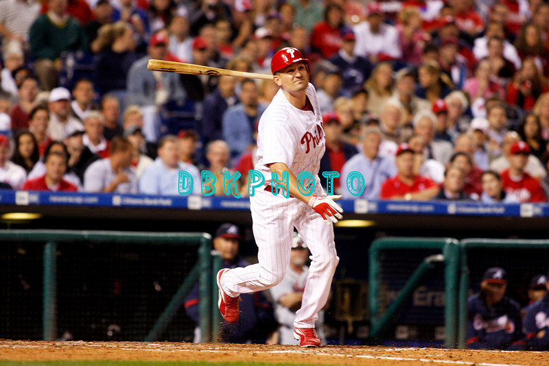23 September 2008: Philadelphia Phillies' catcher Chris Coste (27) pinch hits late in the game against the Atlanta Braves. Atlanta went on to win defeating the Phillie's 3-2 in Citizens Bank Stadium in Philadelphia, PA
