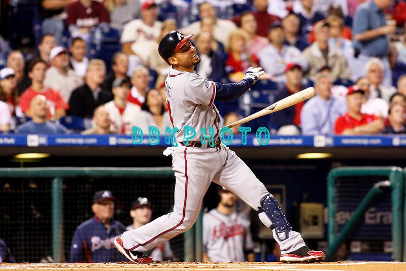 23 September 2008: Atlanta Braves left fielder, Omar Infante (4) swings for the fences in the game against the Philadelphia Phillie's. Atlanta went on to win defeating the Phillie's 3-2 in Citizens Bank Stadium in Philadelphia, PA