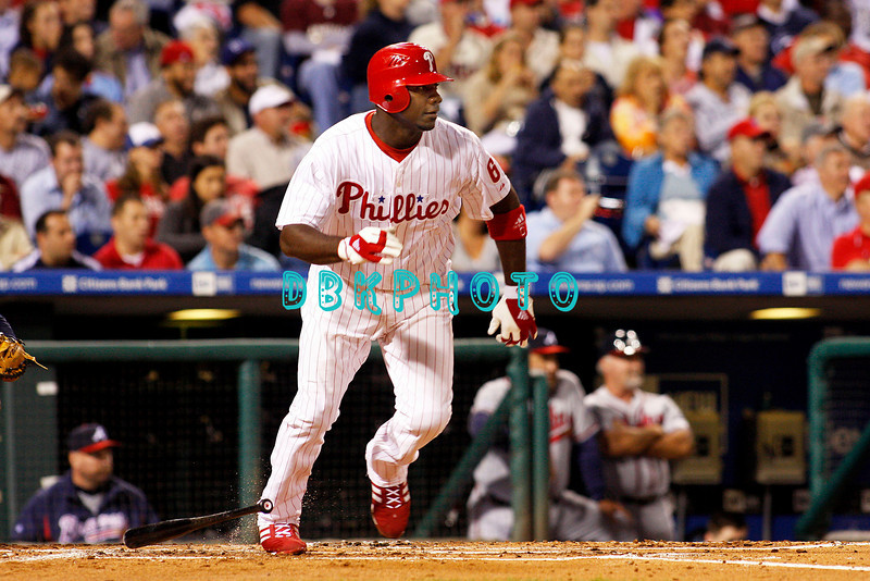 23 September 2008: Philadelphia Phillies' 1st baseman Ryan Howard (6) launches a triple into the gap in the game against the Atlanta Braves. Atlanta went on to win defeating the Phillie's 3-2 in Citizens Bank Stadium in Philadelphia, PA