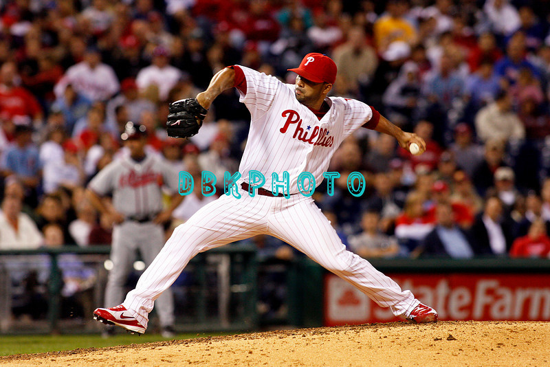 23 September 2008: Philadelphia Phillies' relief J.C. Romero (16) came in to pitch  late in the game against the Atlanta Braves. Atlanta went on to win defeating the Phillie's 3-2 in Citizens Bank Stadium in Philadelphia, PA