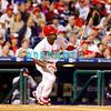 23 September 2008: Philadelphia Phillies' shortstop Jimmy Rollins (11) singles into left field in the game against the Atlanta Braves. Atlanta went on to win defeating the Phillie's 3-2 in Citizens Bank Stadium in Philadelphia, PA