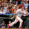 23 September 2008: Philadelphia Phillies' 2nd baseman Chase Utley (26) watches a long fly ball to center field in the game against the Atlanta Braves. Atlanta went on to win defeating the Phillie's 3-2 in Citizens Bank Stadium in Philadelphia, PA