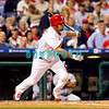 23 September 2008: Philadelphia Phillies' center fielder Shane Victorino (8) starts for first base after hitting a line drive to center field in the game against the Atlanta Braves. Atlanta went on to win defeating the Phillie's 3-2 in Citizens Bank Stadium in Philadelphia, PA