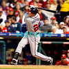 23 September 2008: Atlanta Braves center fielder, Josh Anderson hits a screaming line drive in the game against the Philadelphia Phillie's. Atlanta went on to win defeating the Phillie's 3-2 in Citizens Bank Stadium in Philadelphia, PA