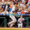 23 September 2008: Atlanta Braves 3rd baseman, Martin Prado (14) takes off for 1st base after hitting a ball  into left field in the game against the Philadelphia Phillie's. Atlanta went on to win defeating the Phillie's 3-2 in Citizens Bank Stadium in Philadelphia, PA