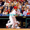 23 September 2008: Philadelphia Phillies' catcher Carlos Ruiz hits a ground ball single in the game against the Atlanta Braves. Atlanta went on to win defeating the Phillie's 3-2 in Citizens Bank Stadium in Philadelphia, PA