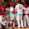 23 September 2008: Philadelphia Phillies' manager Charlie Manuel(41) leaves the mound meeting after handing the ball to Chad Durbin (37) late in the game against the Atlanta Braves. Atlanta went on to win defeating the Phillie's 3-2 in Citizens Bank Stadium in Philadelphia, PA