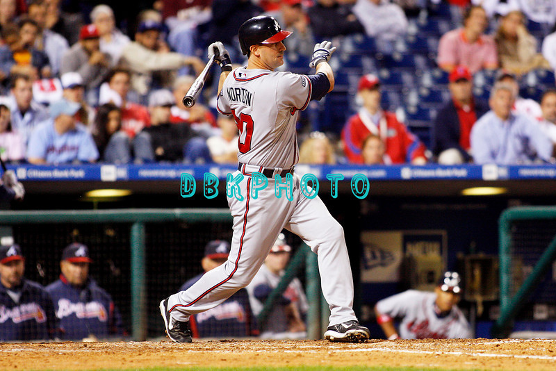 23 September 2008: Atlanta Braves infielder Greg Norton (20) hits a line drive down the left field line in the game against the Philadelphia Phillie's. Atlanta went on to win defeating the Phillie's 3-2 in Citizens Bank Stadium in Philadelphia, PA