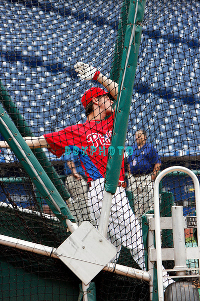 30 September 2008: Phillies pitcherJamie Moyer (50) takes batting practice. The Philadelphia Phillie's and Milwaukee Brewers took the day before the first play off game to hold press conferences and a light field workout at Citizens Bank Stadium in Philadelphia,  PA