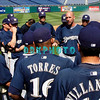 "30 September 2008: The Milwaukee Brewers gather together for a short 'Team Meeting"" on the field before working out. The Philadelphia Phillie's and Milwaukee Brewers took the day before the first play off game to hold press conferences and a light field workout at Citizens Bank Stadium in Philadelphia,  PA"