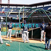 30 September 2008: The Milwaukee Brewers take batting practice. The Philadelphia Phillie's and Milwaukee Brewers took the day before the first play off game to hold press conferences and a light field workout at Citizens Bank Stadium in Philadelphia,  PA