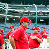 30 September 2008: The Phillie's loosen up early in the afternoon with some exercises, Pat Burrell (C) was there but didn't work out. The Philadelphia Phillie's and Milwaukee Brewers took the day before the first play off game to hold press conferences and a light field workout at Citizens Bank Stadium in Philadelphia,  PA