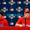 30 September 2008: Cole Hamels, the Phillie's play off starting pitcher (L) and Manager Charlie Manuel at an early media conference. The Philadelphia Phillie's and Milwaukee Brewers took the day before the first play off game to hold press conferences and a light field workout at Citizens Bank Stadium in Philadelphia,  PA