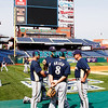 30 September 2008: A few Milwaukee Brewers take a minute to have some fun before working out. The Philadelphia Phillie's and Milwaukee Brewers took the day before the first play off game to hold press conferences and a light field workout at Citizens Bank Stadium in Philadelphia,  PA
