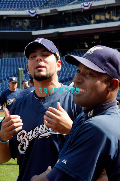30 September 2008: Carlos Villanueva (12) (L) and Salomon Torres (16) ave some fun before working out. The Philadelphia Phillie's and Milwaukee Brewers took the day before the first play off game to hold press conferences and a light field workout at Citizens Bank Stadium in Philadelphia,  PA